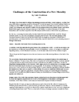 Challenges of the Construction of a New Morality Luiz Gushikan
